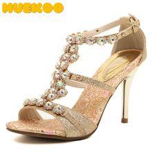2016 Mujeres Del Verano de Bohemia 8.5 CM Oro Hebilla De La Correa de Tacón Alto Sandalias de diamantes de Imitación Elegante Noble Bling Zapatos De Boda de Verano(China (Mainland))