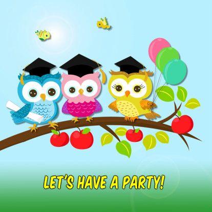 Drie afgestudeerde uil-studenten op een tak met blad en appels met ballonnen en vogeltjes. Tekst 'Let's have a party' is variabel.