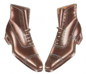 1922 mens boots- In the early 1920′s men still wore cap toe lace up boots. This style had been around for over 50 years already. Sturdy, comfortable, dressy ...