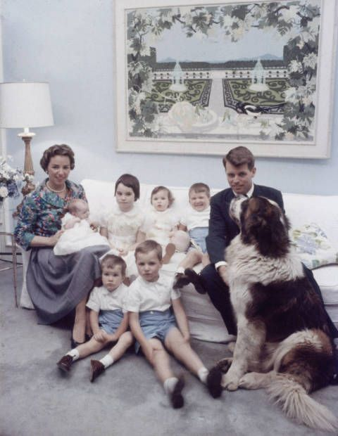 The Robert Kennedys with their St. Bernard.