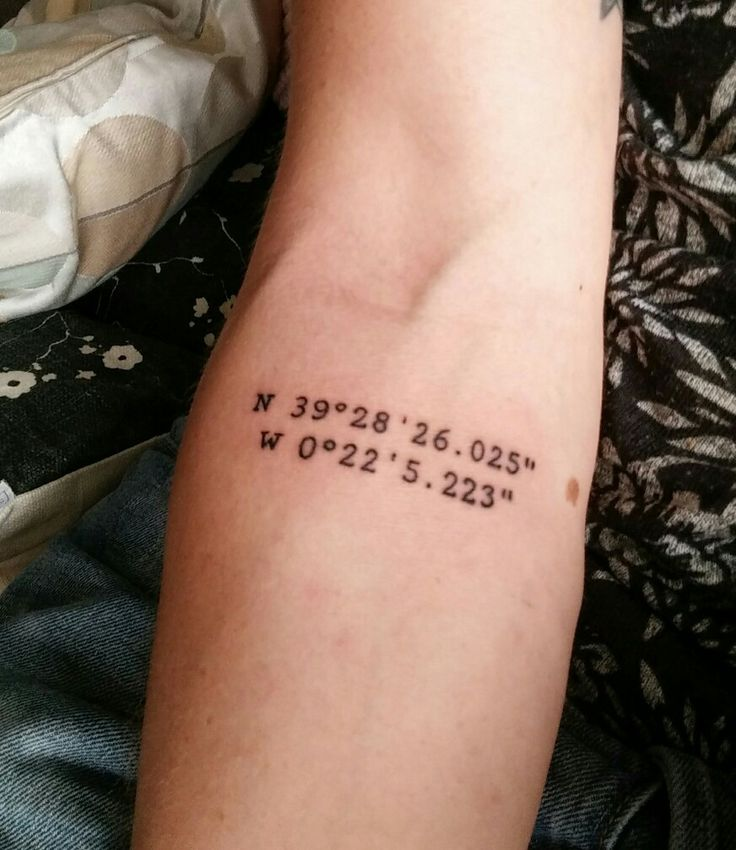 My third tattoo, got it in Valencia Spain. These are the coordinates of our b&b Valencia suits you. My girlfriend and i got te same, because of the great time we had there and because its just a beatyfull a great city!!