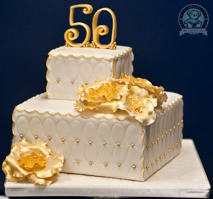 Golden 50th Anniversary cake