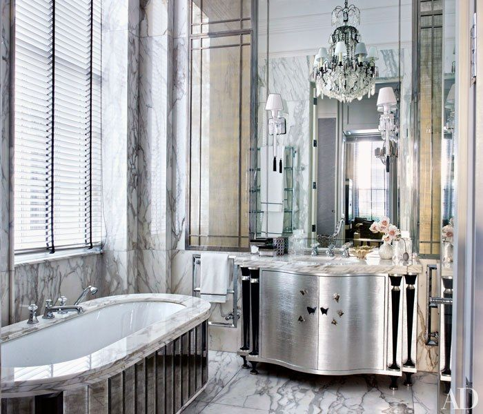 Designer Hubert Zandberg gives a stately London home an elegant makeover with bespoke interiors marked by a subtle palette and shimmering surfaces: Interior, Idea, Marble, Architectural Digest, Master Bathrooms, Decorating, Contemporary Bathroom, Dream Bathroom, Design
