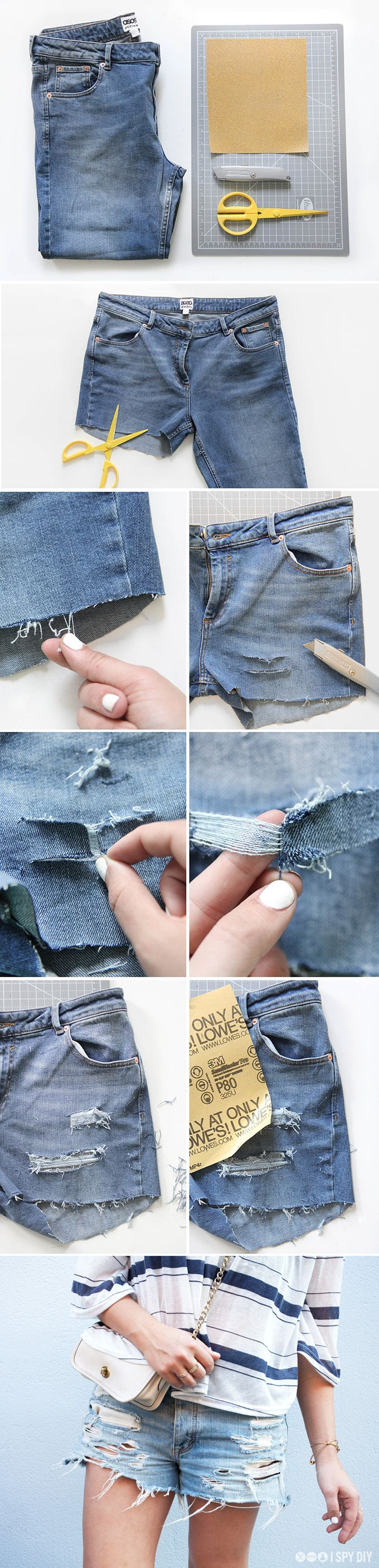 DIY Distressed Denim Shorts Tutorial