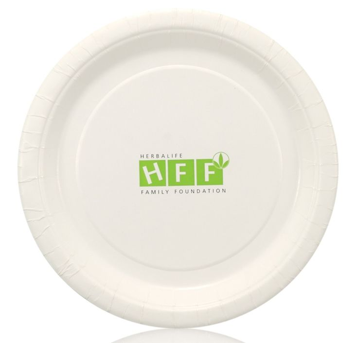 """7"""" Coated Paper Plates White use a home for kids logo in orange"""