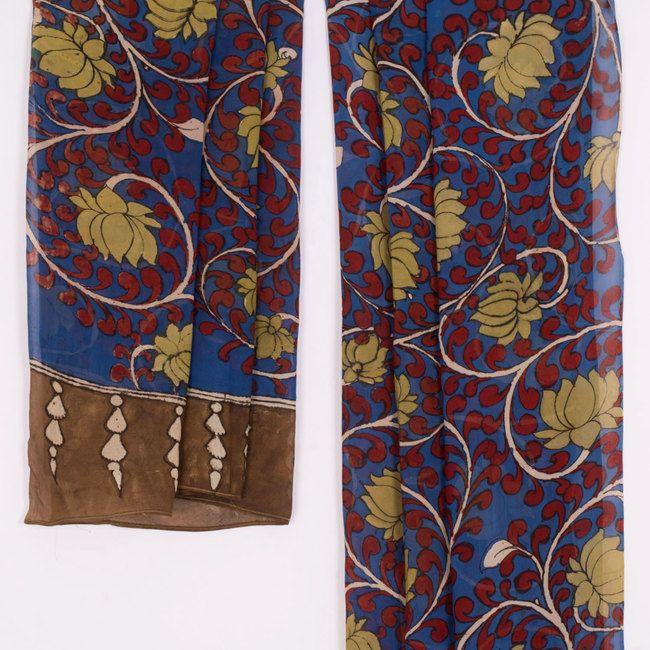 Hand Painted Kalamkari Georgette Dupatta With Lotus Motifs 10016455 - AVISHYA.COM