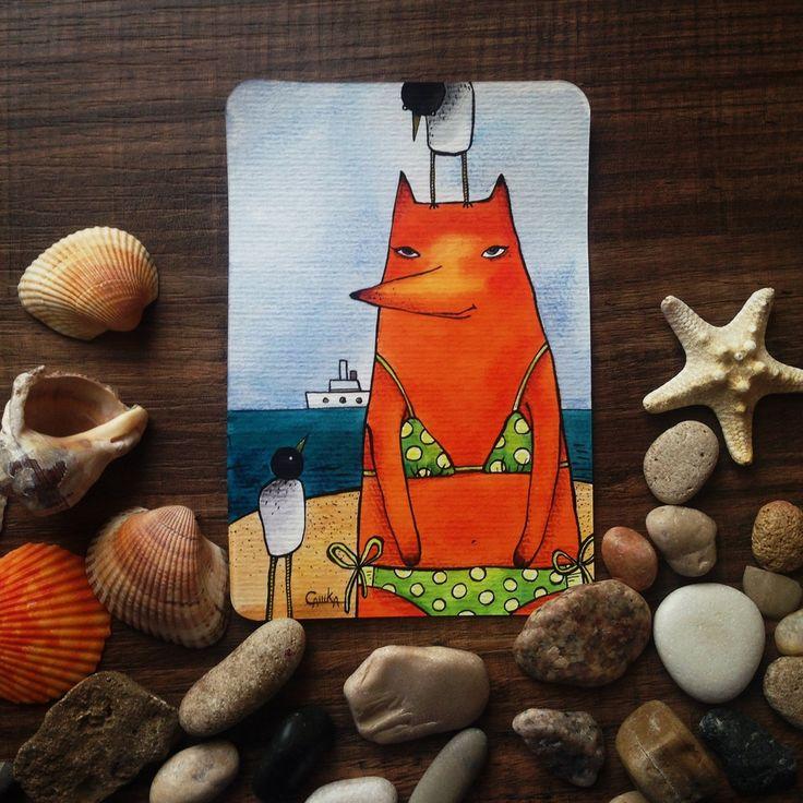#чайки #МОРЕ #лиса #пляж #fox #лисица #шляпка #лиса #happiness #card #otkritka #happy #postcrossing #girl #red #blue #black #postcard #postal #watercolor #color #sketch #art  #подарки #акварельки #акварель #watercolor