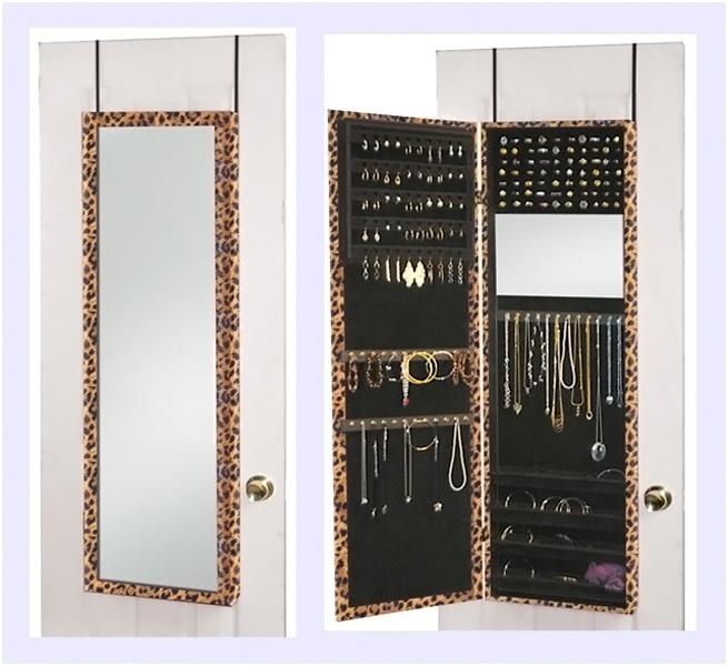 Wall mounted jewelry organizer mirror