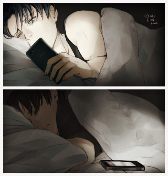 Sleepy Levi. This is me when I want to text my friends but also want sleep...but I always choose sleep instead, my phone spammed by morning