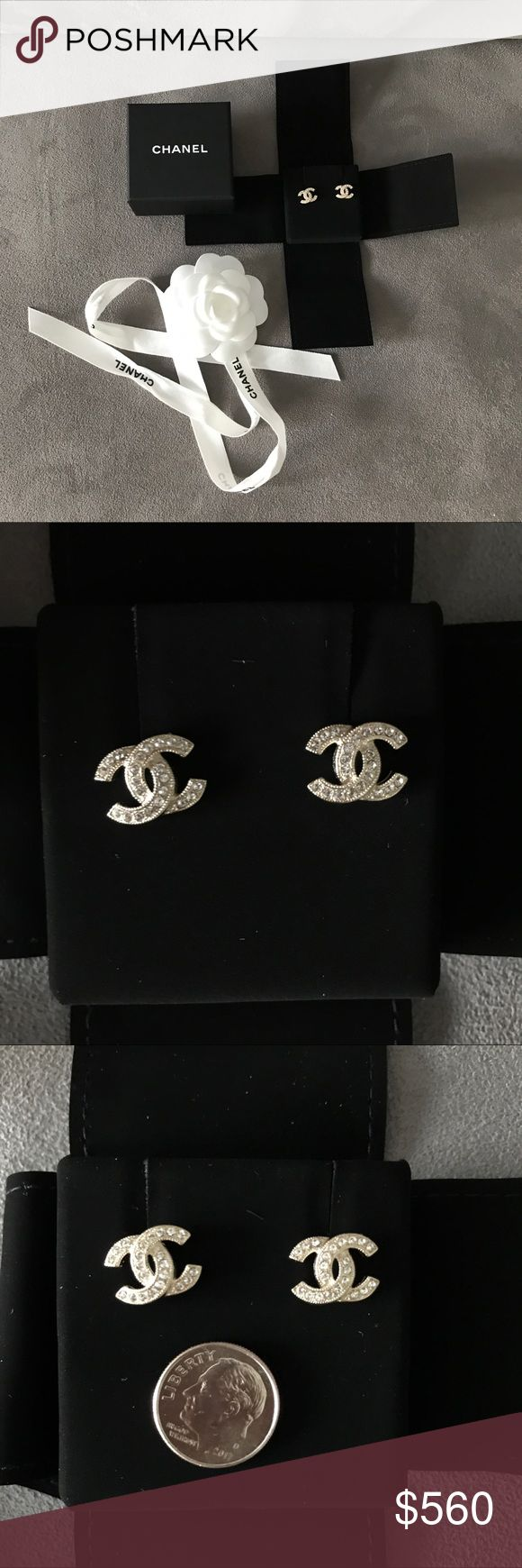 Chanel earrings authentic NIB Authentic, brand new in box and never worn chanel cc earrings in slight gold color hardware with crystals. These gorgeous day to night earrings are a must have. From the current collection. They are guaranteed authentic as I purchased them myself directly from a chanel store in Paris. Come with all original packaging as shown :) don't miss out they will sell quickly! 🅿️🅿️ $475 shipped provide 📧 for in voice CHANEL Jewelry Earrings