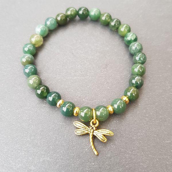 Perlenarmbänder - CLAIRE [Armband Moos Achat mit Libelle gold] - ein Designerstück von Myrna_Lovecraft bei DaWanda