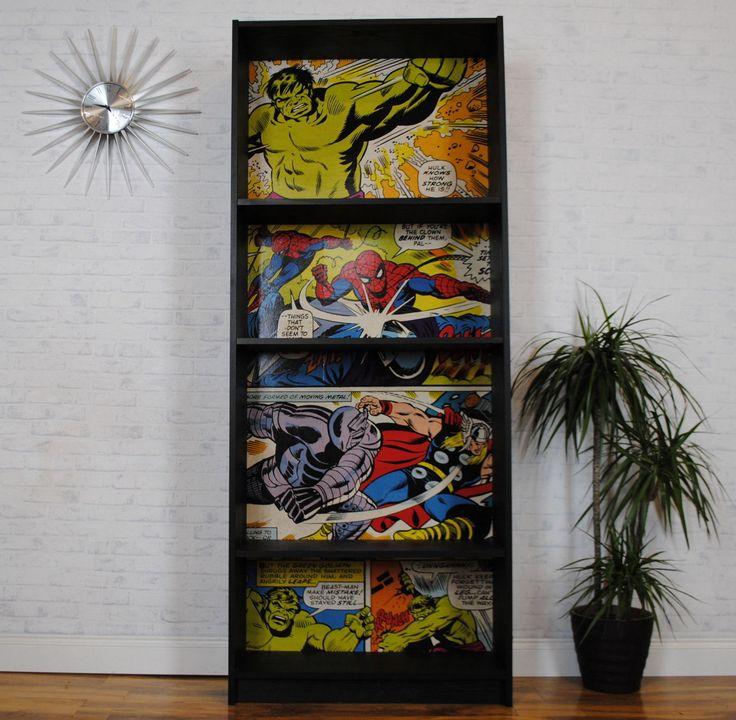 Upcycled Bookcase / Shelves Marvel Decoupage Superhero Hulk