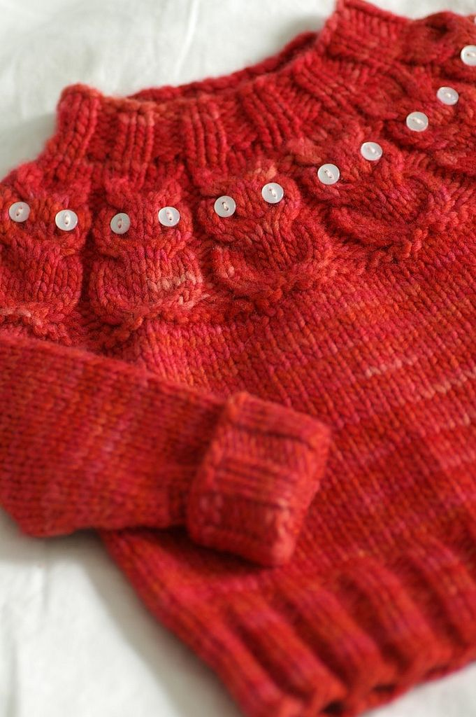 """Pattern: Owlet designed by Kate Davies Pattern Source: Kate Davies Pattern Store Yarn: Malabrigo Worsted in an unnamed colorway (received as a prize during Malabrigo March 2009) 112g (234 yds)  Needles: KnitPicks Nickel Plated Options Circular Needles size US7 Size knit: 6 months, 9"""" across body x 10"""" from collar to hem   blogged"""