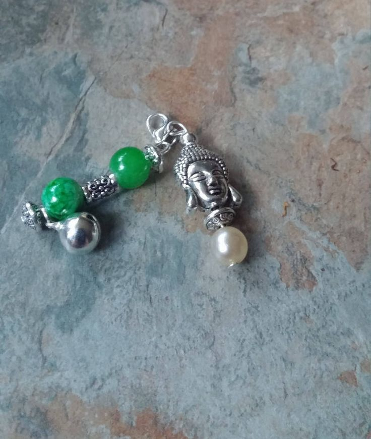 Silver Buddah charm with green marble glass beads and silver lobster clasp phone charm/ key chain/ bag accessories/ zipper charm by SpryHandcrafted on Etsy