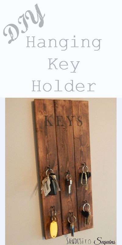 DIY Hanging Key Holder Sawdust to Sequins. Thinking of mod-podging a small picture of a verhicle, rental, etc. under the key so I can find exactly the key I want, when I want it.