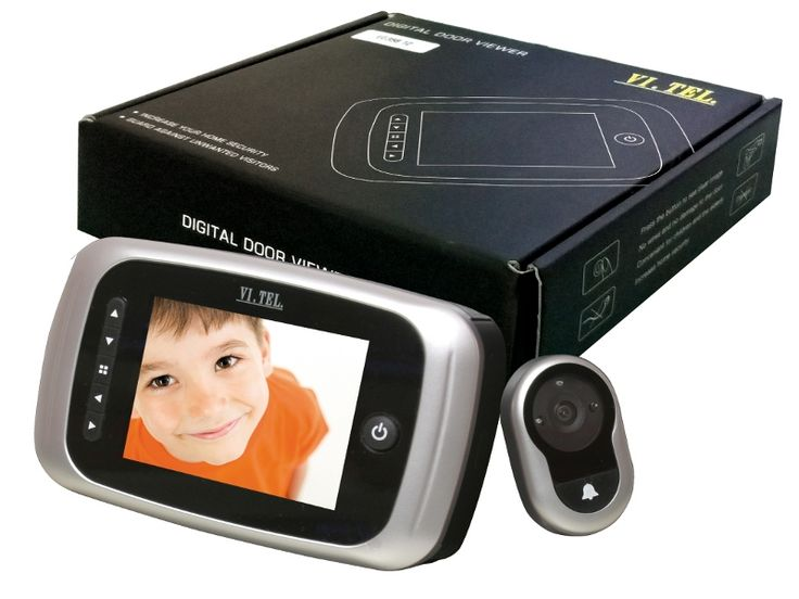 Spioncino digitale con funzione di fotocamera, videocamera e campanello elettronico, tecnologie applicate alla sicurezza.