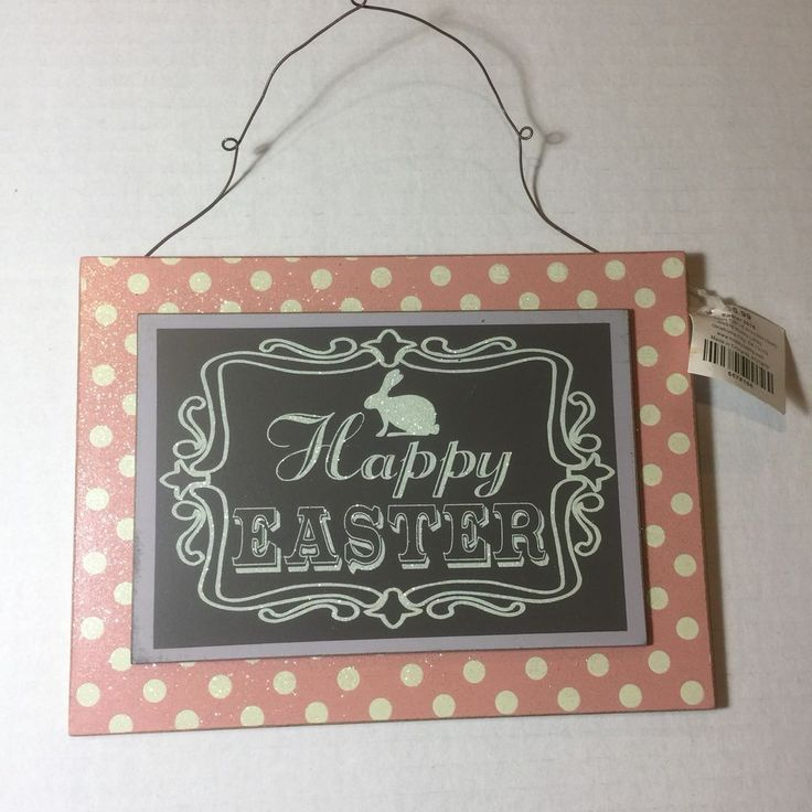 Happy Easter Sign Plaque Wall Blackboard Chalk Pink Wood Decoration Hanging  | eBay