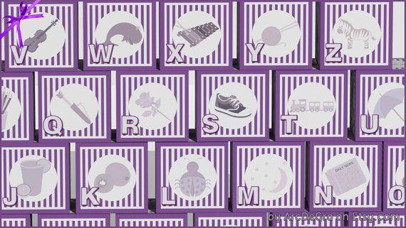 Digital baby ABC blocks Purple Printable alphabet by ArcDeGra