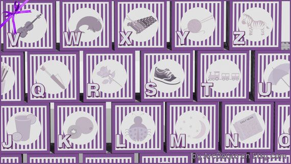 Digital baby ABC blocks Purple Printable alphabet by ArcDeGra