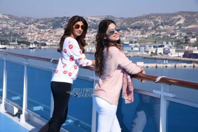 Shilpa and Shamita Shetty enjoy the sea view atop the Costa Fascinosa on Day of Adel Sajan and Sana Khan's wedding celebrations