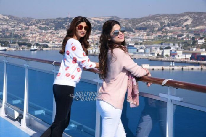 Shilpa and Shamita Shetty enjoy the sea view atop the Costa Fascinosa on Day of Adel Sajan and Sana Khan's wedding celebrations