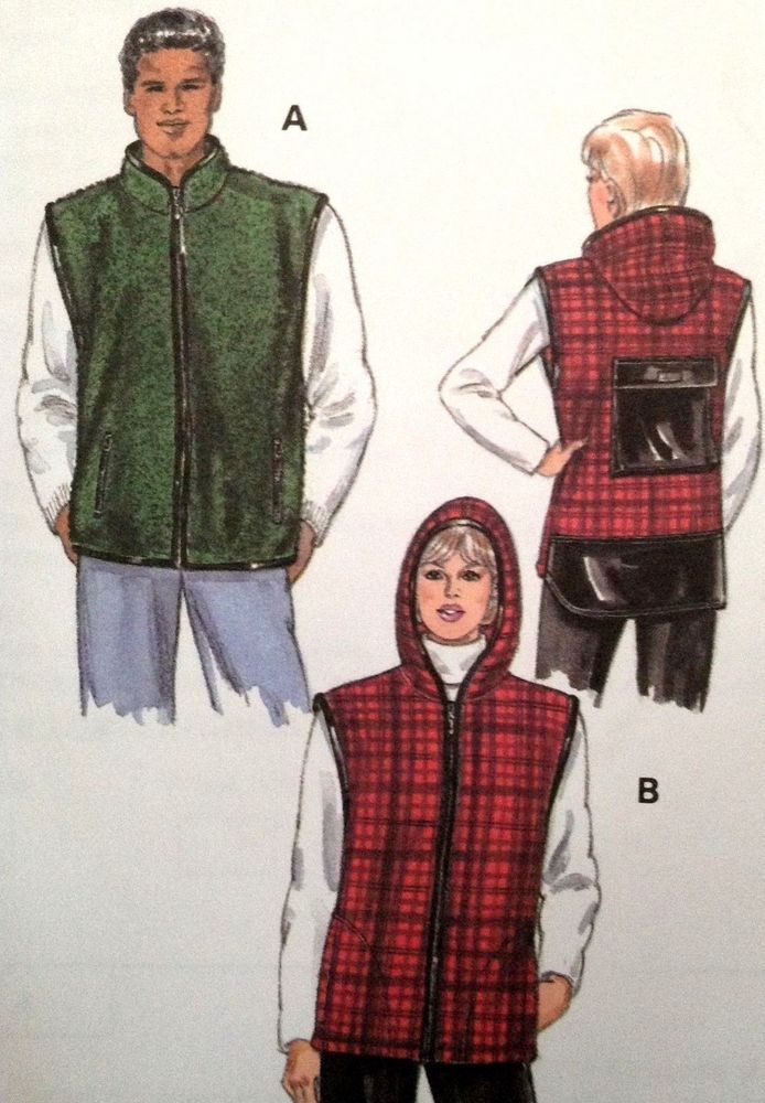 1122778e6 UC Kwik Sew 2816 Sewing Pattern Polar Fleece Vest XS-XL Zip Hooded Men  Women  KwikSew