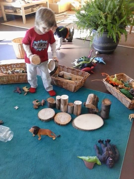 "The making of 'The Animal Jungle' at 'Discovery Early Learning Center'... I like how the baskets of resources are at the edge of the rug ("",)"