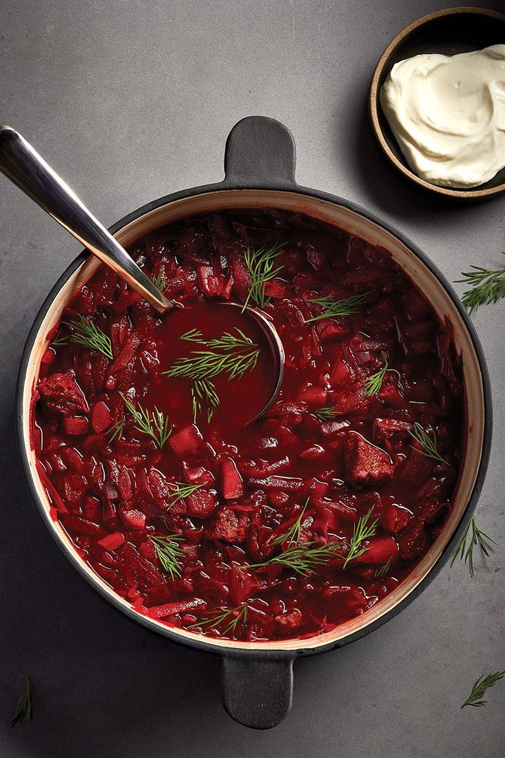 Beef and beet borscht can be made up to three days in advance. The flavours in this traditional Eastern European soup develop and improve overnight.