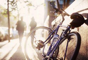 тротуар, тени, велосипед, силуэты, утро, Улица, солнце