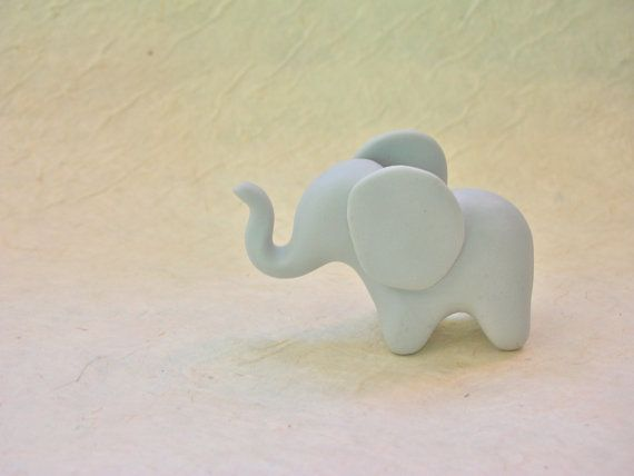 Lucky Baby Elephant  fimo polymer clay figure by WeeScarlettStudio
