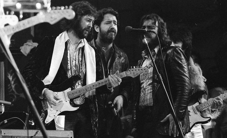 The Last Waltz concert at Winterland November 25, 1976, was filmed by Martin Scorcese In this image, Eric Clapton, Paul Butterfield Bobby Charles and Ron Wood The Band and many guest musicians performed, including Neil Young, Bob Dylan, Van Morrison Ron Wood, Paul Butterfield Ringo Starr, Dr. John  and Joni Mitchell Photo: Gary Fong, The Chronicle