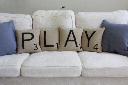 Love pillows with words.Ideas, Game Rooms, Games Room, Scrabble Pillows, Scrabble Tile, Playrooms, Plays Room, Families Room, Scrabble Letters