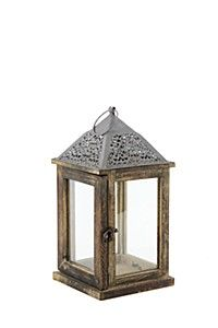 METAL AND WOODEN LANTERN
