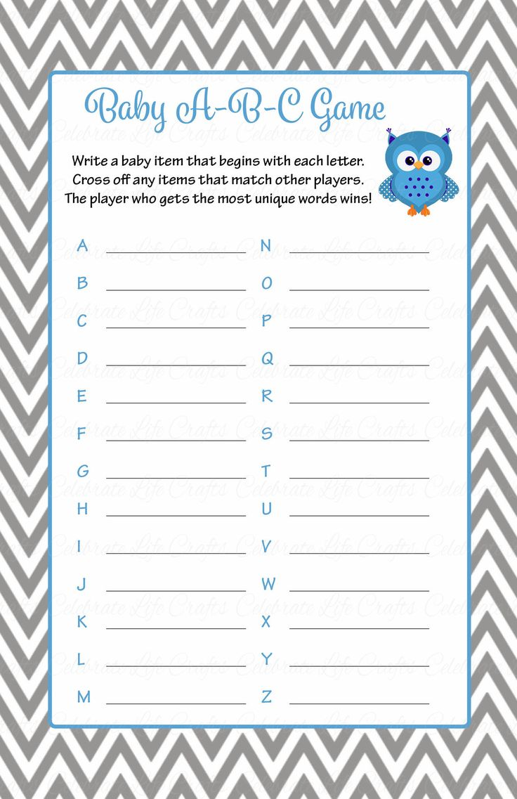 Baby ABC Game Printable Download Blue amp Gray Baby