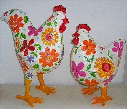 Pulpa y papel floral gallo y la gallina, altura -45 cm