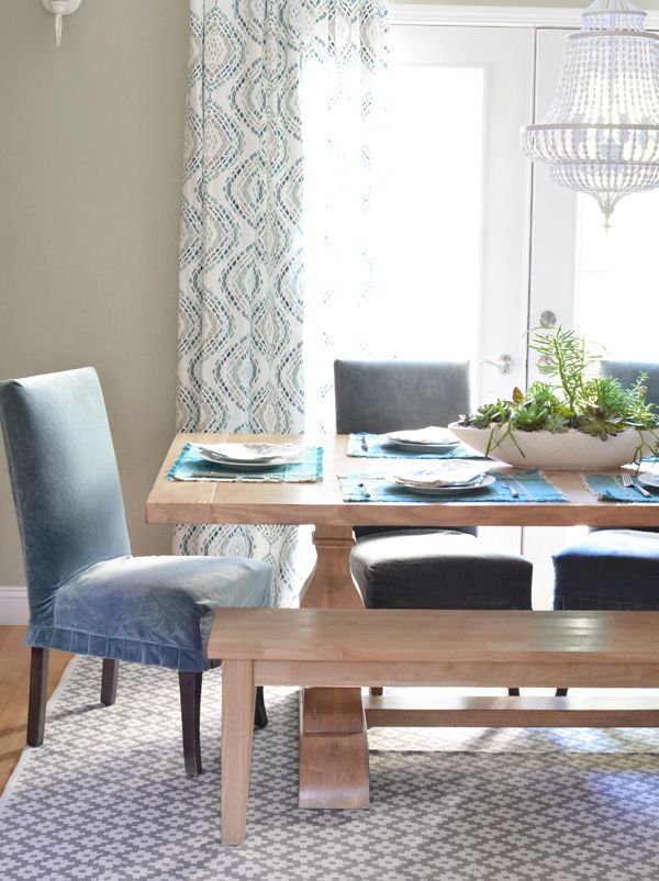 Bright And Neutral Dining Room With Light Wood Tones Pale Blues