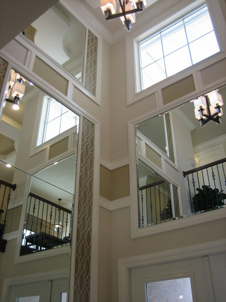 Two Story Foyer Ceiling Fan : Could we do crown molding around the bump out in two