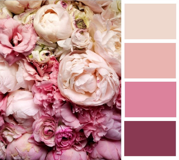 I would like shades of purple, pink and champagne (by far my favorite colours