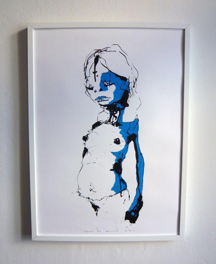 Dave De Leeuw | girl with cut in head | 2014 | 70 x 50 cm | edition of 50 | silkscreen on paper | 100,-