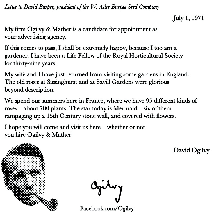 David Ogilvy shows how a stellar follow up looks in a memo on July, 1971, to a potential client David Ogilvy (who Ogilvy & Mather later won). #DavidOgilvy #Advertising #BestPractices