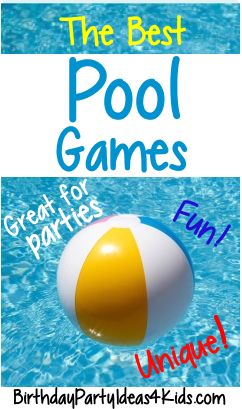 The best Swimming Pool Party Games!  Great for swim parties, birthdays, pool parties or anytime!    Fun and unique games for kids, tweens and teen parties ages 5, 6, 7, 8, 9, 10, 11, 12, 13, 14, 15, 16, 17, 18 years old and adults too!   http://birthdaypartyideas4kids.com/pool-party-games.htm