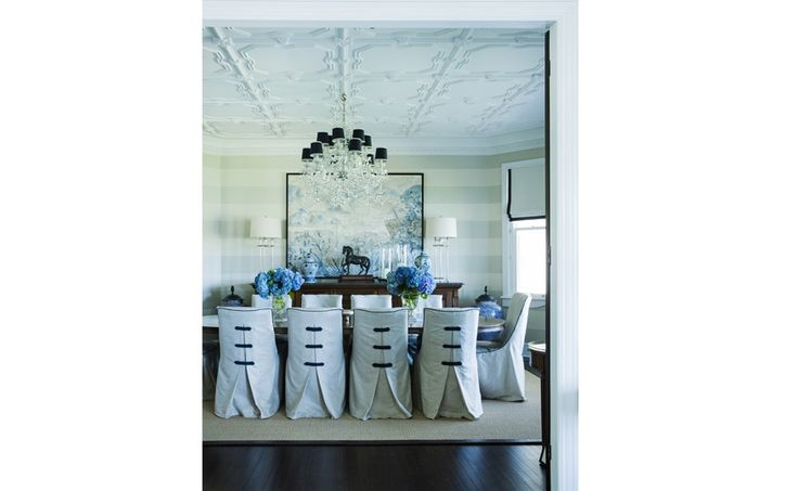 Coco Republic - love the slip covers on the chairs and the black and white