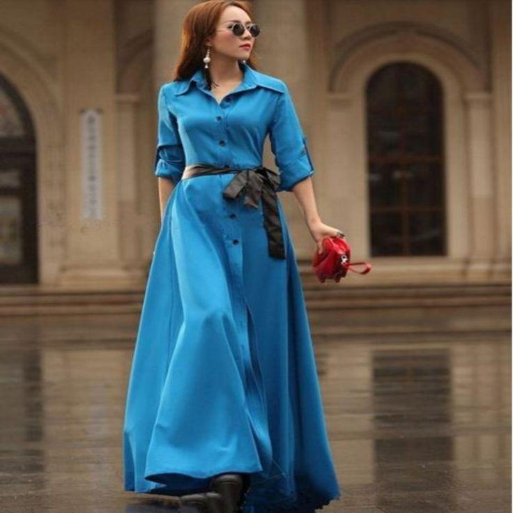 Bohemian Long Belted Women Maxi Dress