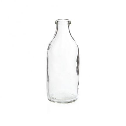 This Small Glass Milk Bottle for $2.95 each is a versatile addition to your next party. Add a paper straw and they are great for drinks. Group a few together, add some flowers and you have a stunning centrepiece for your table. Mix them with our Large Gla