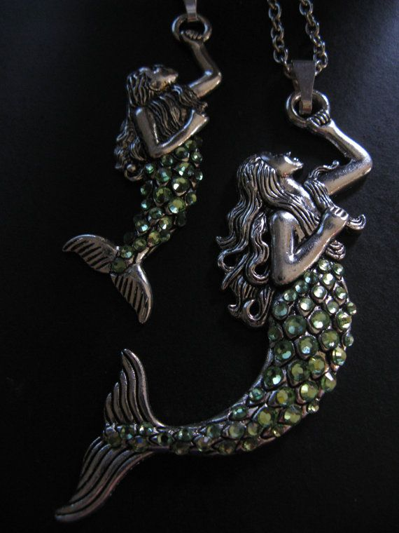 MERMAID PENDANT NECKLACE-Peridot Swarovski Crystals-Two Sizes-Mother Daughter-Silvertone Chain-Under the Sea
