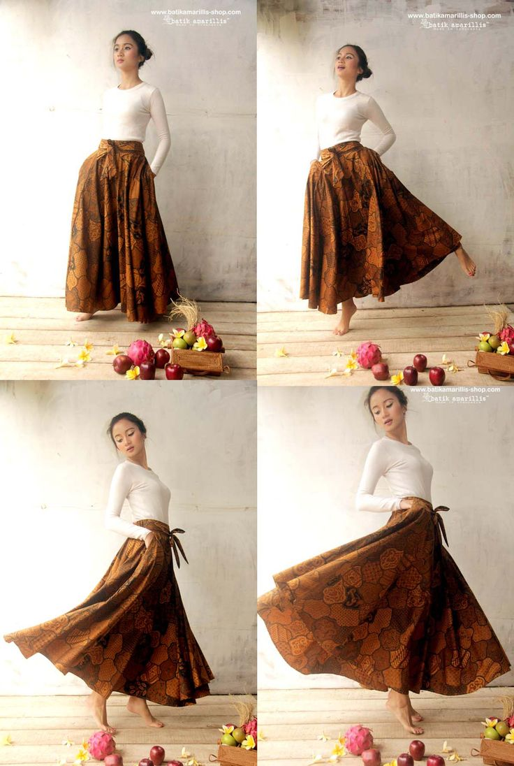 Batik Amarillis's Amarillissma Sekar Jagat Long Batik Skirt; made In Indonesia. This fabulous and luxurious batik coletan Sekar jagat from Sragen skirt features a structured waistband with sash which can be styled front or back for a trim look around the middle, then pleats merge down into a billowing skirt.