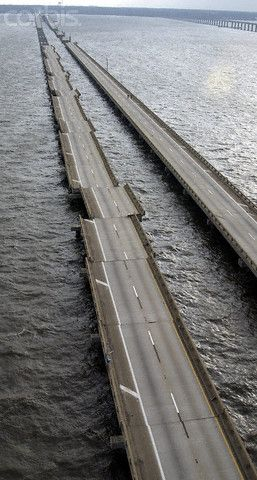 The devastated I-10 bridge after Hurricane Ivan near Mobile, Ala.