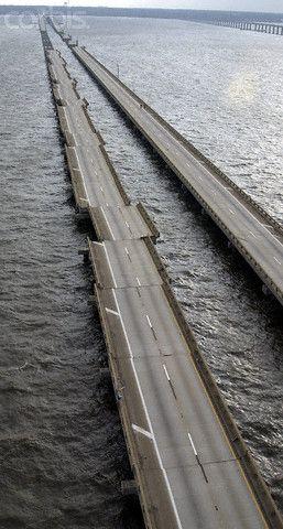 The devastated I-10 bridge after Hurricane Ivan near Mobile, Ala.