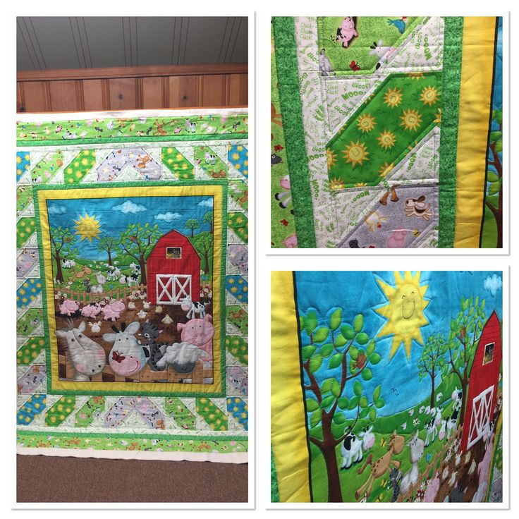Quilting done on Farm animal quilt. Ruler work and free hand quilting