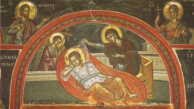 Christ Anapeson (Christ Reclining), Stavronikita Monatery, Chapel of St Nicholas, Crete, 1545, by Theophanes the Cretan